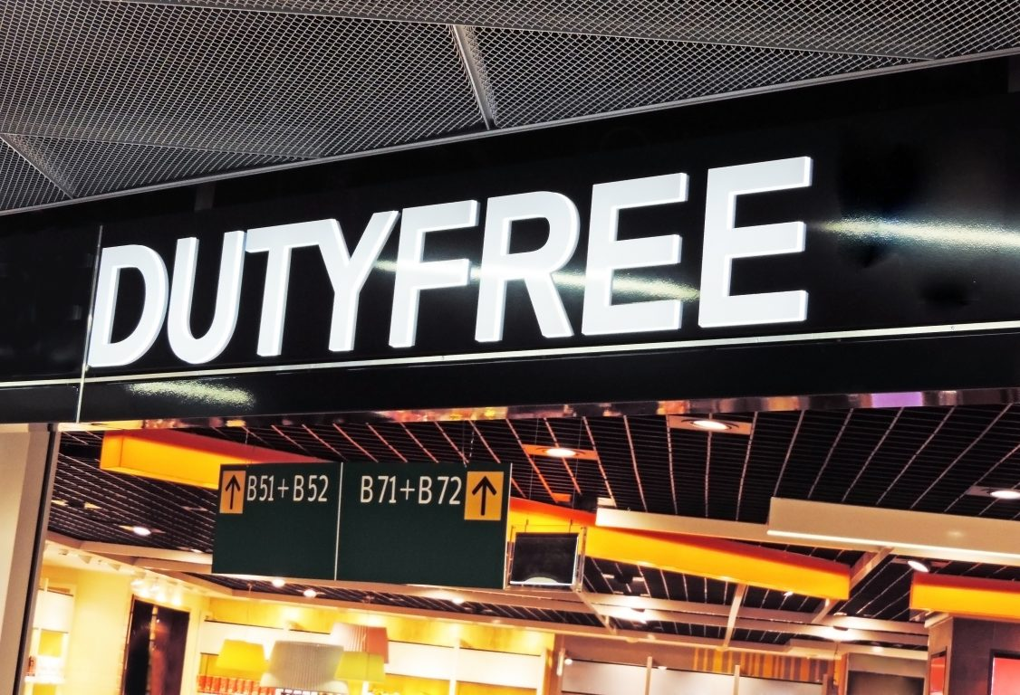 Duty free board in airport
