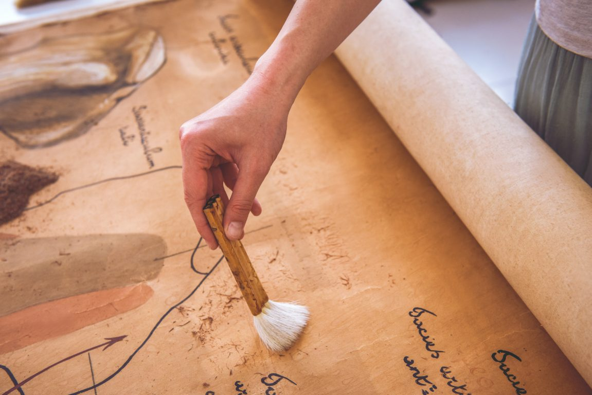 Brushing and restoring an old book