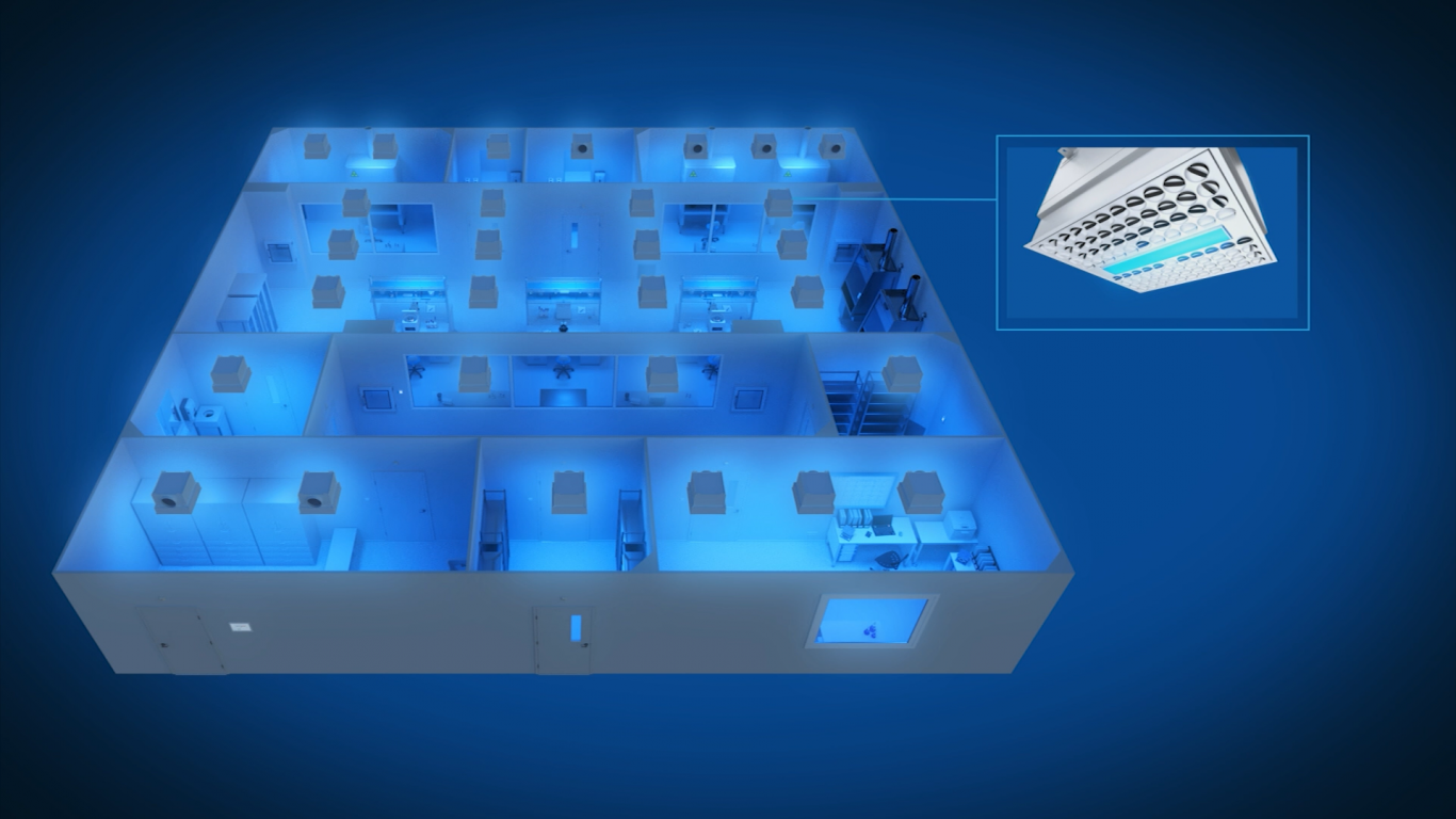 Halton Vita Cleanroom solution with blue light in the diffuser
