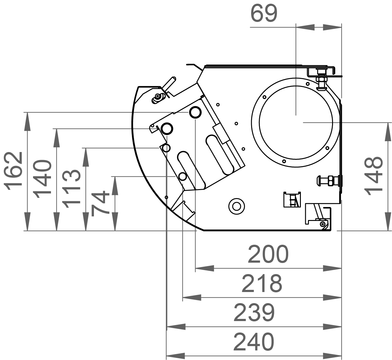 Dimensions of the Halton CaBeam Chilled Beam for Exposed Installation