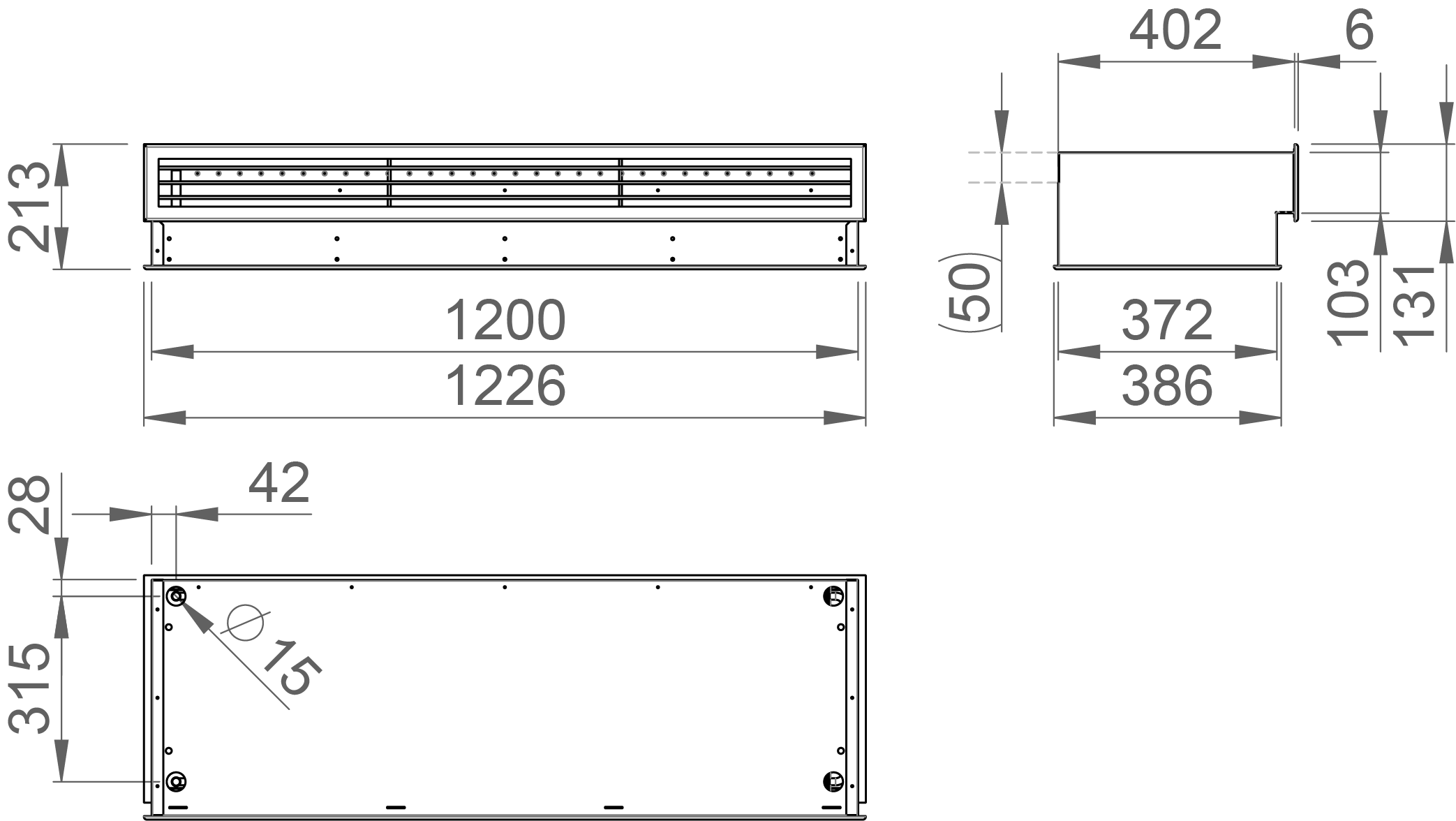 Dimensions of the Halton CaBeam Chilled Beam for Integrated Installation