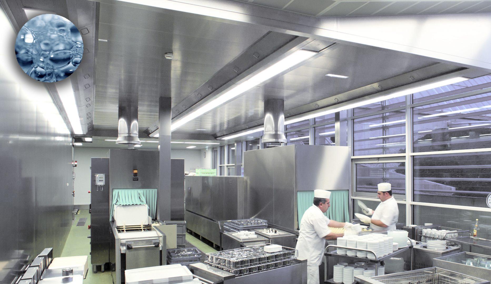 KCV-WW water wash ventilated ceiling for dishwashing areas