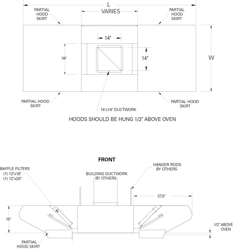 P2 Pizza Oven Exhaust Hood Dimensions