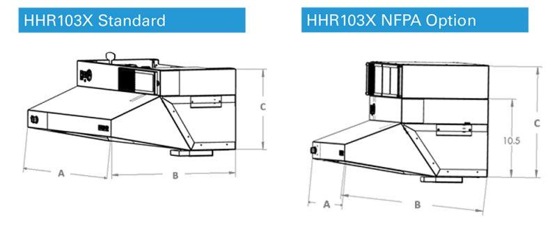 Dimension Drawings for Halton HHR1000 Commercial Range Exhaust Hood