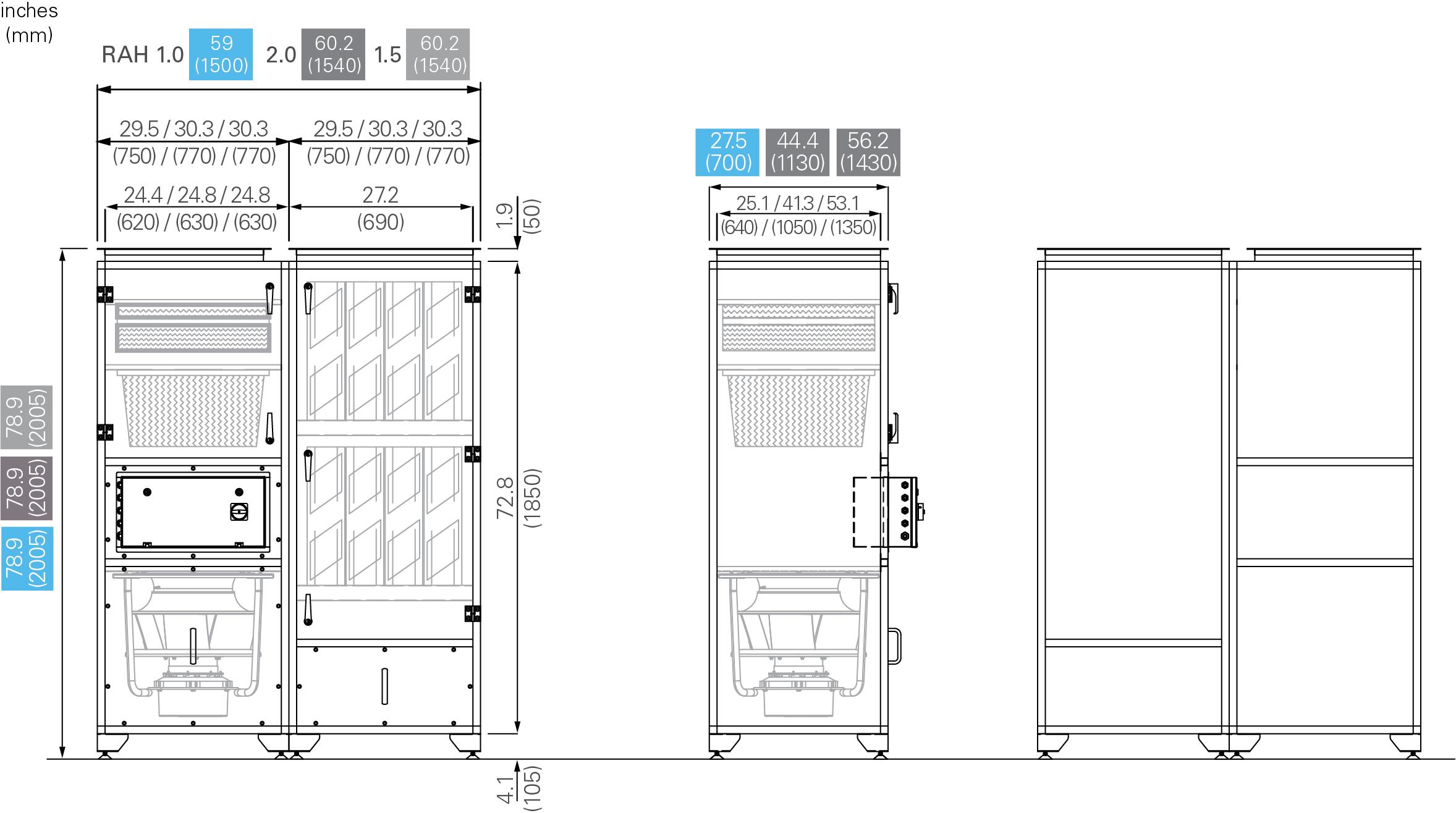 Dimensions for Halton RecoAir Recirculating Units